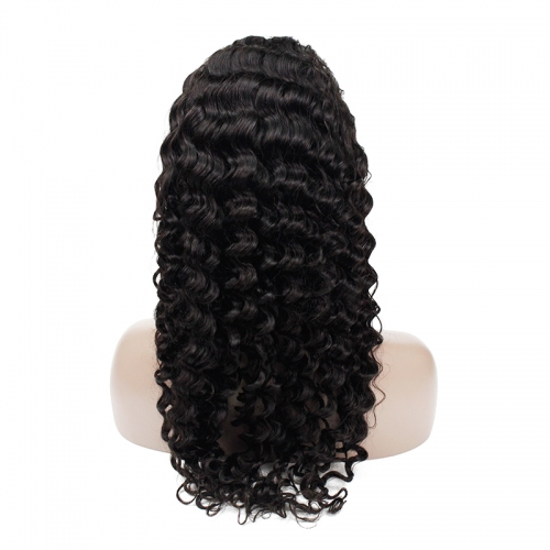 Deep Wave Frontal Lace Wig(Natural Black)