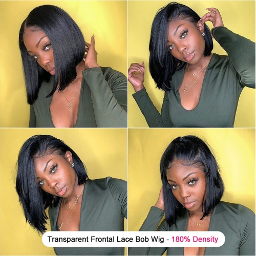 Transparent Bob Style Frontal Lace Wig-180% Density